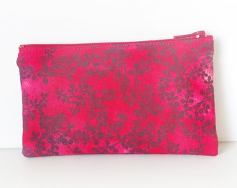 Zippered Coin Purse with Red Floral Print and Card Slot