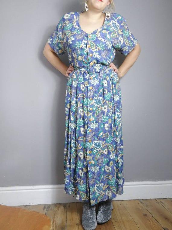 Vintage 90s grunge dress / belted buttoned up long dress / 90s summer dress / betty barclay dress / 90s floral maxi / festival boho dress
