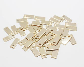 P0413-1/Anti-tarnished Gold Plating Over Brass/Square Tag Pendant/5x12mm/10pcs