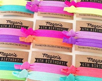 CHOOSE YOUR COLORS | Hair Tie Party Favors | Personalized Hair Tie Birthday Party Favors, Bright Neon Rainbow Party Favors, Custom Colors