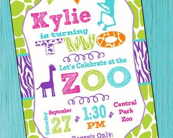 Zoo Birthday Party Invitation Girls Zoo Animal Birthday Invitation