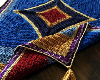 Crochet blanket Pattern tutorial/CypressTextiles/babyLove Brand/Magic Flying Carpet Blanket/unique modern rug tassel treasure granny square