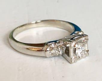 Fine Detail Diamond Engagement Ring - Five Stone Ring - 14k White Gold Ring