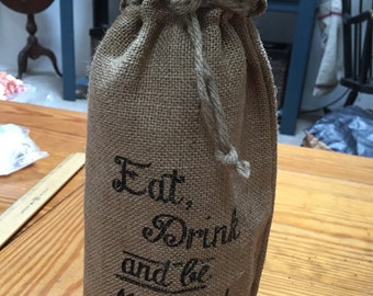 Eat Drink and be Married burlap wedding wine bottle decor signage