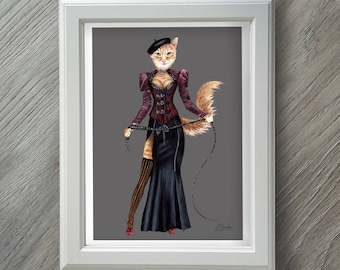 Burlesque Art Print - Cat Art Print - Cat Gifts - Burlesque Art - Gift for women - Cat lover gift - Cat Lover - Cat Painting - Cat Print