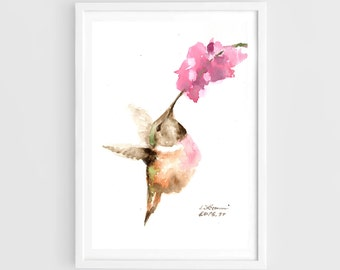 "Original painting, hummingbird, 5""x7""(13x19cm),home decor"