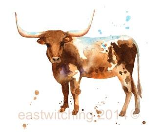 STEER Print, boys wall art, cow, country, western art, cowboy birthday, rodeo