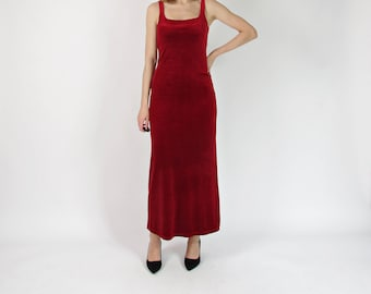 SALE 50% OFF 90s Red wine velour long party dress