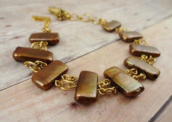 Copper Freshwater Pearl Bracelet - Stairway to Heaven - Published Bracelet