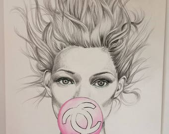 Original illustration. Chanel bubble gum