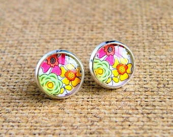 floral stud earrings, colorful jewelry, post earrings, gift for her, christmas gift, silver studs