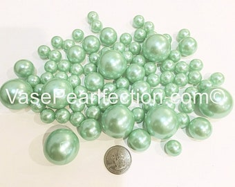 All Mint Blue Pearls- Jumbo/Assorted Sizes Vase Fillers for Centerpieces