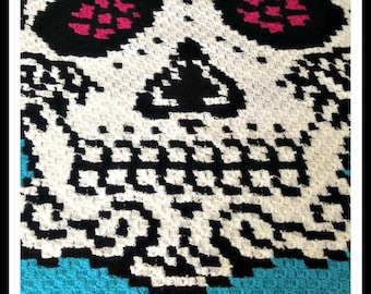 C2C Graph, Sugar Skull in Color Afghan C2C Crochet Graph with Written Word Chart