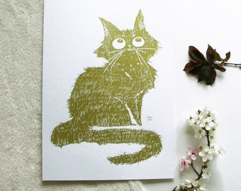 Screen print - gold cat - illustration