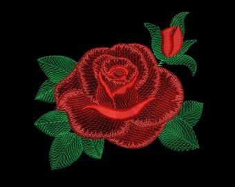 Machine Embroidery Design Red Rose flower Natural Embroidery Floral Embroidery Pattern