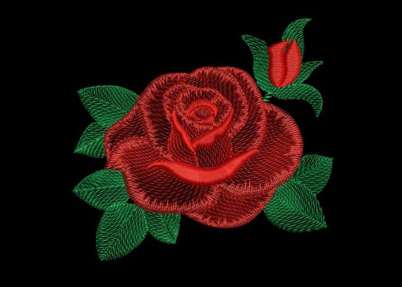 Machine Embroidery Design Red Rose Flower Natural Embroidery