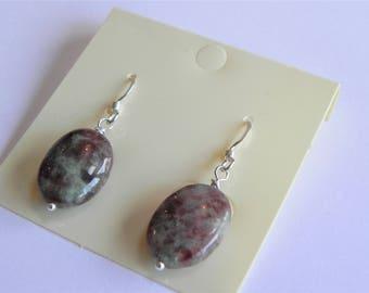 Zoisite oval gemstone sterling silver drop earrings