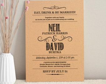 Hand Lettered Rustic Love / DIY Kraft Paper Wedding Invitation / Printable PDF Template / Digital Download