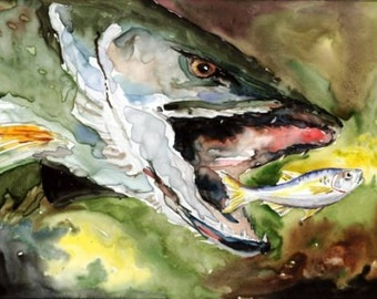 Killer Northern Pike Watercolor print 8X10 Best cottage decor art Picture by Artist Barry Singer