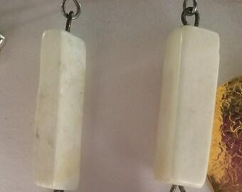 White bone and unikite dangle earrings.