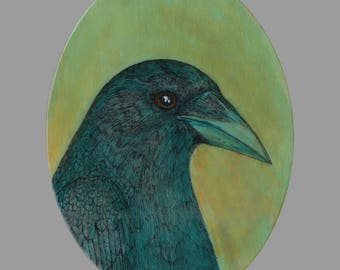 Oval crow portrait No. 78 ORIGINAL mixed media bird art painting on oval shaped cradled birch 6 x 8