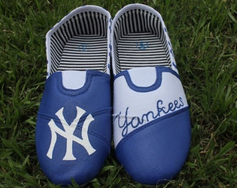 Zebra New York Yankees Hand Painted Shoes