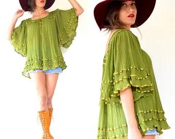 Vintage 70s Avocado Green Cotton Gauze Box Neck Angel Wing Tunic