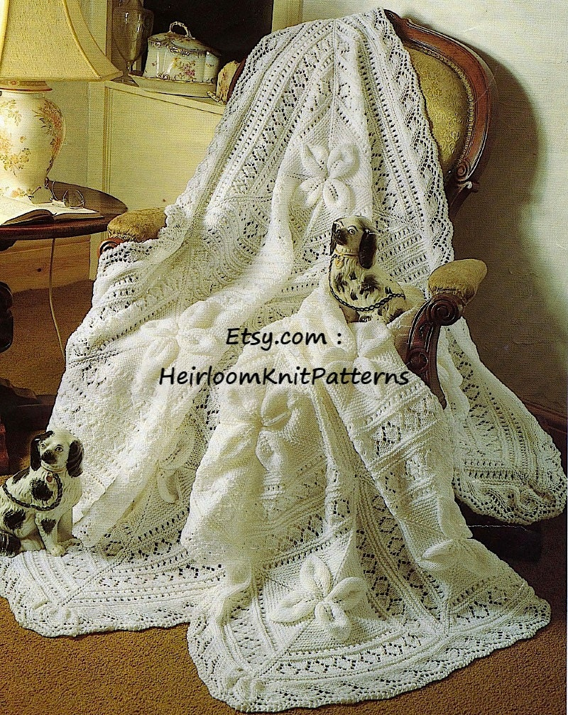 Heirloom Baby Shawl and Cot Blanket DK Knitting Pattern Baby Boy ...