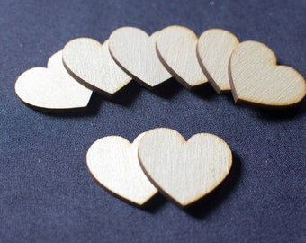 50 Laser Cut Birch Wooden Hearts 1.5 Inch Great for Wedding Guest Books.