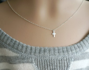 Tiny Sterling Silver Cross Necklace / Modern Simple Everyday Jewelry