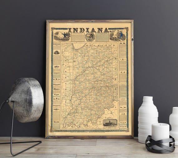Indiana Old Map Vintage Indiana Map Old Maps Vintage USA