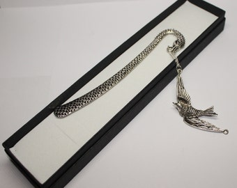 Tibetan Silver and Crystal Bookmark - Dragon design with dangling silver chain and Tibetan Silver Sparrow Charm