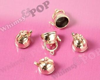 3D Gold Tone Tea Kettle Teapot Charm Pendants, Tea Kettle Charms, Teapot Charm, 20mm x 17mm (R8-184)