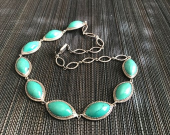 Tribal Sterling Silver Green Turquoise Necklace