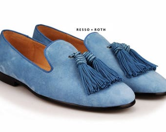 Resso + Roth Men's Blue Suede Loafers Belgian Loafers Tassel Loafers Slip-on Loafer Blue Velvet Loafers