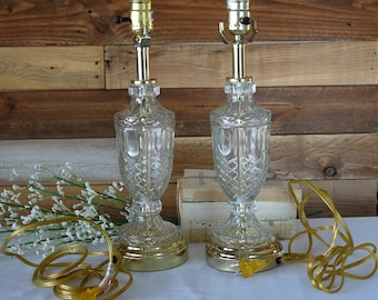 Set of 2 Crystal Lamps Clear Glass Table lamps Urn Table Lamps Cut Crystal Glass Brass Accent Table Lamps Hollywood Regency Lamps