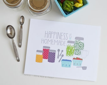 Happiness is Homemade,  Kitchen Art, Kitchen Decor, Ball Jar, Berries, Vegetables, Canning, I love to cook, utensils, 5x7, 8x10, 11x14