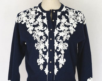 Vintage Elsie Tu Navy Blue Cardigan with White Floral Beading, 1950s Sweater, Cardigan, Navy Blue Sweater, Vintage Sweater, Gifts for Mom