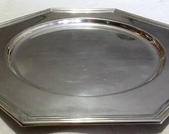 Piatto vassoio ottagonale da portata in silver plated firmato Olri made in italy.