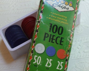 Poker Chips, Craft Supplies, 100 Plastic Poker Chips, Original Box, Blue Red Beige, Poker Chips, Art Supplies, Game Pieces, Card Game Pieces
