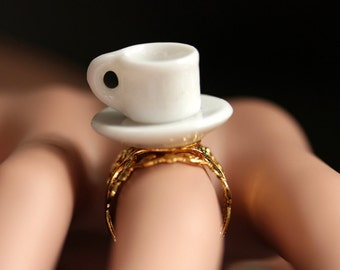 Coffee Cup Ring. Porcelain Cup and Saucer Ring. White Cup Ring. Gold Filigree Ring. Adjustable Ring. White Ring. Gold Ring. Handmade Ring.