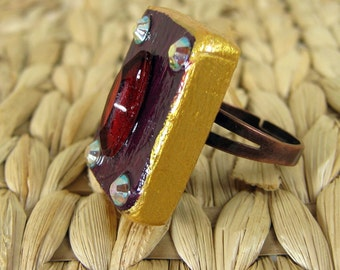 Wooden Ring, Cocktail Ring, Ring made of Wood, Violet and Red, Red Rhinestone,  Wooden Jewelry, Iridsecent Colors, Handmade, Adjustable