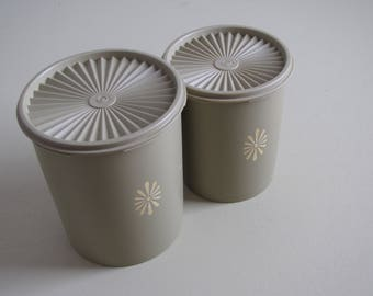 Vintage Green Tupperware Canisters - Set of Two