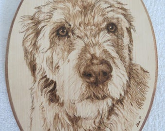 Irish Wolfhound Pet Portrait Pyrographic Art Wall Plaque Made to Order 8 x 12 inch by Shannon Ivins Pigatopia