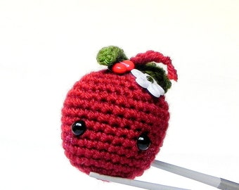 Amigurumi - Cherry drop MochiQtie -- mochi size crochet amigurumi mini toy doll
