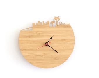 Miami Modern Clock - City Skyline Wall Clock - Florida