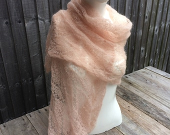 Fine knit scarf peach handmade Christmas gift