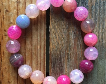 Multicolored Pink Agate | Chunky 10 mm | Spiritua Junkies | Yoga + Meditation | Stackable Mala Bracelet