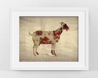 Goat Art, Goat poster, Modern Rustic Decor, Farm Animal Poster, Goat Print, Rustic Farmhouse Decor, Cool Wall Art, Rustic Nursery Decor