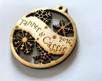 Tanner & Cassie 2016 - Customizable Christmas Ornament - Engraved Birch Wood Ornament